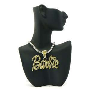 NICKI MINAJ BARBIE Pendant Silver Franco Chain Silver/Yellow Stone
