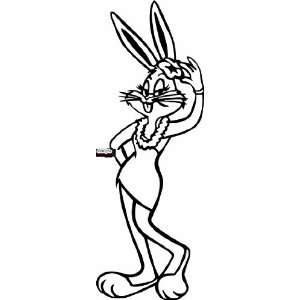 BUGS BUNNY FEMALE 10 WHITE VINYL DECAL STICKER