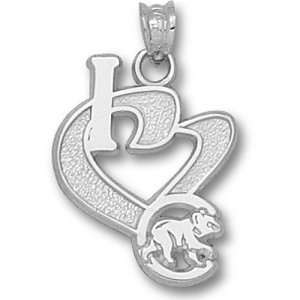 Chicago Cubs MLB I Heart C Bear 3/4 Pendant (Silver