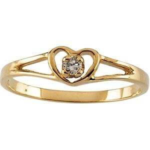 Heart with Diamond Ring in 14k Yellow Gold Jewelry