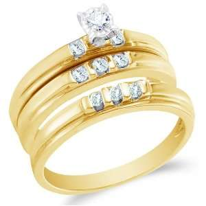 Size 10   10K Yellow Gold Diamond Mens and Ladies Couple His & Hers