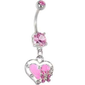 Passion Pink Butterfly Heart Dangle Belly Ring Jewelry