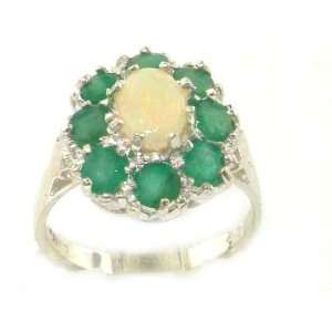 Luxury Ladies Solid White Gold Natural Opal & Emerald Large Cluster