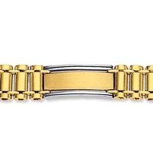 14k Two Tone Gold Regular 9.00mm Mens Style Bracelet Jewelry