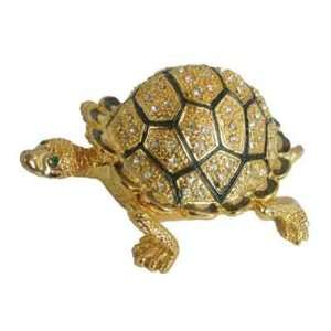 Golden Turtle Bejeweled Swarovski Crystal Diamond Jewelry Trinket Box