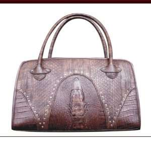 Pet BA7093 Faux Leather Handbag Pet Carrier in Snake Skin Brown Pet