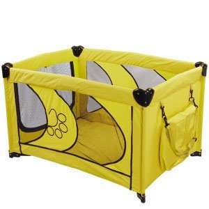 Portable Dog Cat Pet Play Pen Puppy Home Soft Side Playpen Yard Yellow