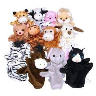 Dozen Velour Animal Hand Puppets Kids TOY Preschool Kindergarten