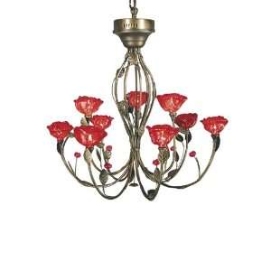 Dale Tiffany TH60355 Red Rose 9 Light Chandeliers in