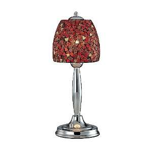 Light 19 Chrome Metal Table Lamp with Red Mosaic Glass Shade LS 20485