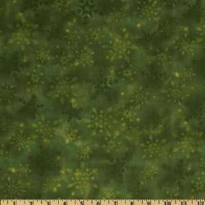 & Holly Snowflakes Green Fabric By The Yard Arts, Crafts & Sewing