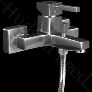 Pure Square Tub Shower Mixer Wall Mount Brushed Nickel