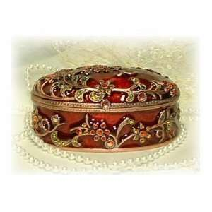 Jewelry Box/ Crystal Trinket Box/ Red with Flower Trim
