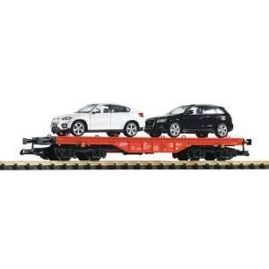 DB IV FLAT CAR WITH 2 DIE CAST SPORT UTILITY VEHICLES   PIKO G SCALE