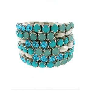 Fashion Jewelry ~ Turquoise Silvertone Coil Bracelet
