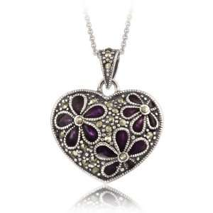 Silver Marcasite & Purple Enamel Flower Heart Pendant Jewelry
