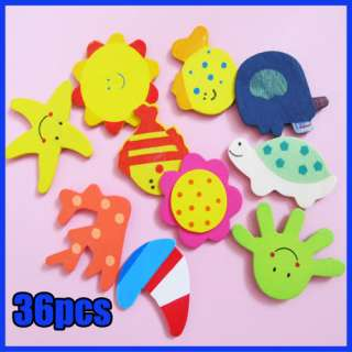 36x Wooden Carton Cute Animals Fridge Magnet Sticker Kids Fun