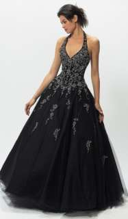 New Black Halter Formal Prom Ball Gown Evening Dress Stock Size 6 8 10