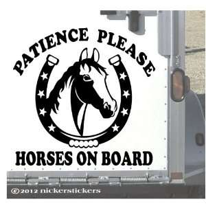 Horses on Board Horse Trailer Decal Sticker 15 x 15.5 Automotive