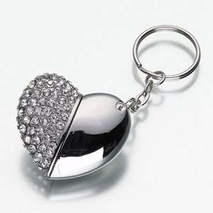 GB heart shape Crystal Jewelry USB Flash drive keychain Electronics