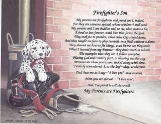 FIREMAN DAUGHTER Poem Prayer Personalized Rose Print