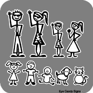 Stick People Family Car Decals Stickers Graphics Item #1